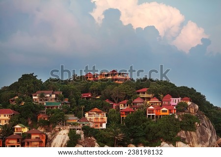 resprts on the island, sunset - stock photo