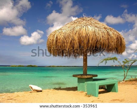 Rest area at Spanish Lagoon / Aruba - stock photo