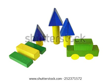 Rest area of wooden blocks, traditional toy on white background - stock photo