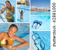 Rest at pool. A collage - stock photo