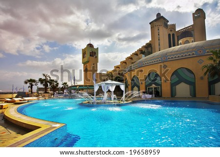 Rest in magnificent southern hotel in the winter - stock photo