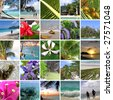 Rest in tropics. Seychelles. The collection of photos. Collage - stock photo