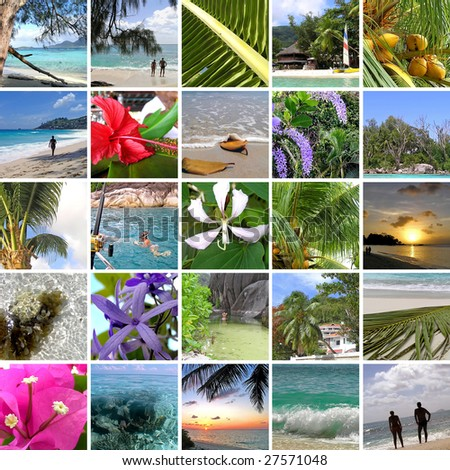 Rest in tropics. Seychelles. The collection of photos. Collage
