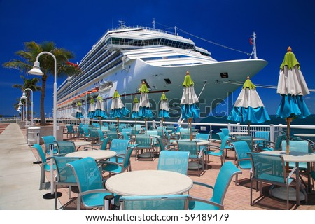 rest on the beach close the ship in key west , Florida. - stock photo