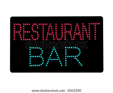 Restaurant and Bar illuminated sign, isolated on white. With clipping path.