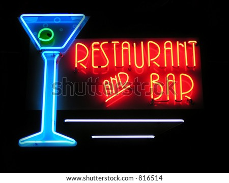 Restaurant and Bar neon sign - stock photo