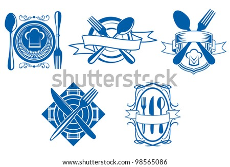 Restaurant and cafe menu icons and symbols set for food industry design isolated on white background, such  a logo. Vector version also available in gallery - stock photo