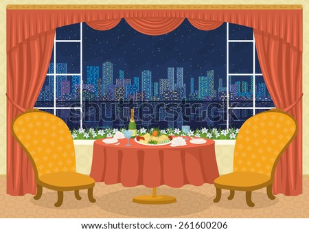 Restaurant background with two chairs and dining table with plates, napkins, glasses, champagne bottle and potato dish on a platter in front of the window with view of big night city, cartoon - stock photo