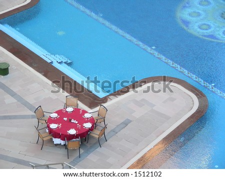 restaurant by the pool - stock photo