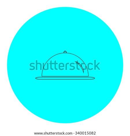 Restaurant cloche. Black outline flat symbol on blue circle. Simple illustration pictograh on white background - stock photo