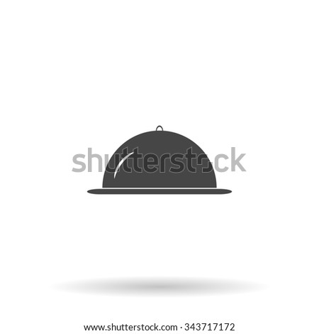 Restaurant cloche. Flat icon on grey background with shadow - stock photo