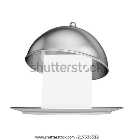 Restaurant cloche with lid - isolated on white background - stock photo
