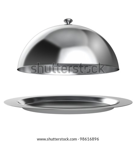 Restaurant cloche with open lid - stock photo