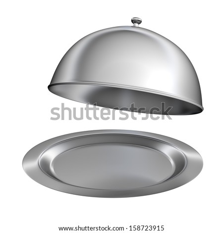 Restaurant cloche with open lid - isolated on white background
