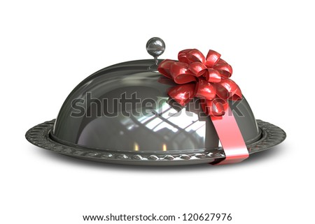 Restaurant cloche with Red gift ribbon bow isolated on white background High resolution 3d render - stock photo