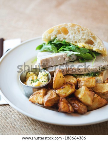 Restaurant Dinner Sandwich with Roasted Potatoes
