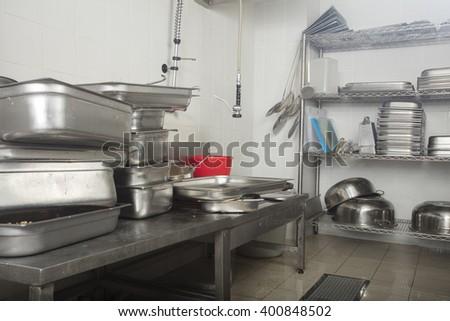 restaurant dish washing station - stock photo