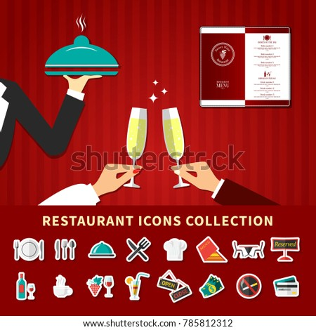 Restaurant emoji icons collection background with flat cartoon images of waiter hands champagne glass and menu  illustration