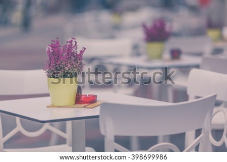 Restaurant exterior at the town street - stock photo