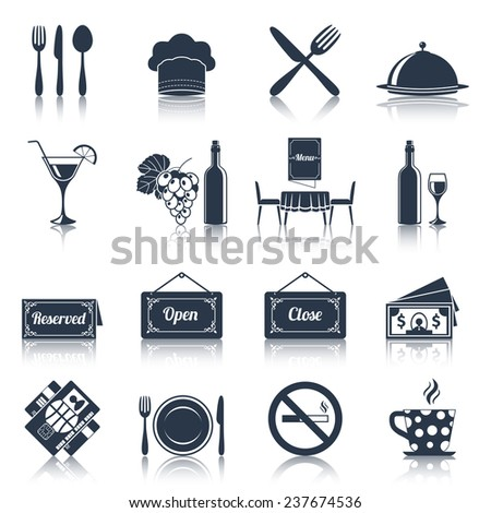 Restaurant Kitchen Illustration restaurant food kitchen black icons set stock vector 220207789