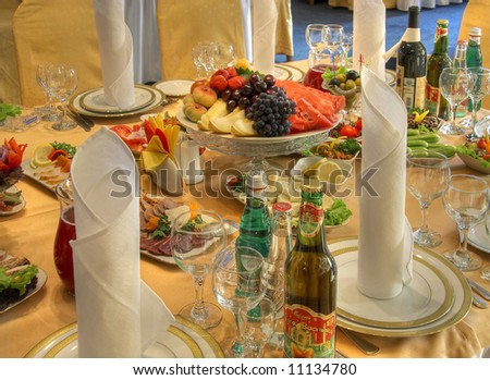 Restaurant food serving table - stock photo