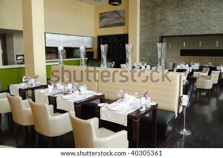 Restaurant in luxury hotel, Dubai, United Arab Emirates - stock photo