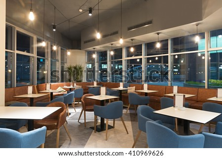 Restaurant in modern office building - stock photo