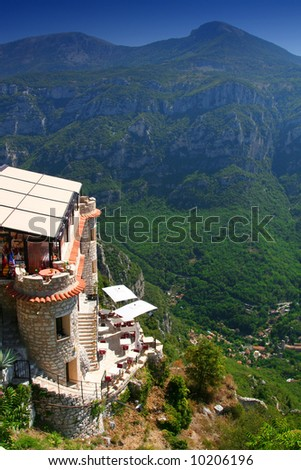 Restaurant in the French Alpes Maritimes. - stock photo