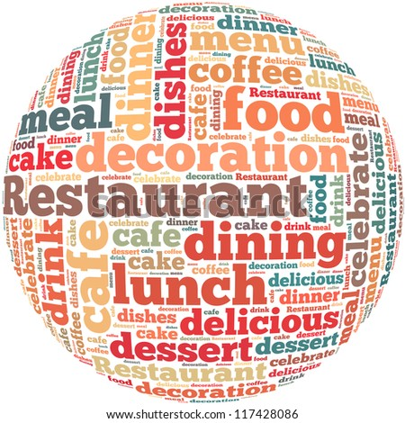 Restaurant info-text graphics and arrangement concept on white background (word cloud) - stock photo