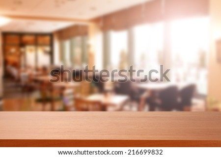 restaurant interior and brown top  - stock photo