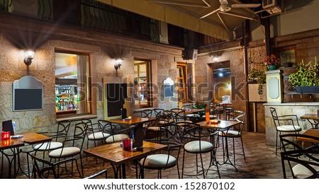 Restaurant lobby, modern but vintage look.  - stock photo