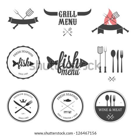 Restaurant menu design elements set - stock photo