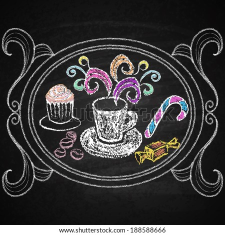 Restaurant menu elements.  Chalk on board. Cup of coffee.  - stock photo