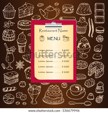 Restaurant menu with hand drawn doodle elements and clipboard. Illustration for menu, posters, prints, banners, web design, covers