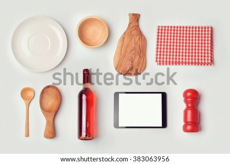 Restaurant mock up template with organized objects. View from above - stock photo