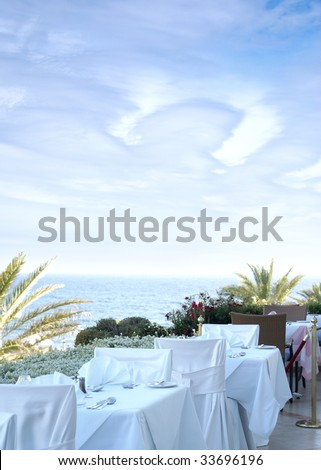 Restaurant near the sea - stock photo