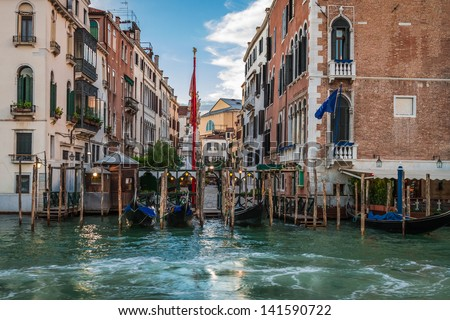 Restaurant on the  Grand Canal in Venice - stock photo