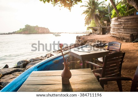 restaurant on the island of Sri Lanka - stock photo