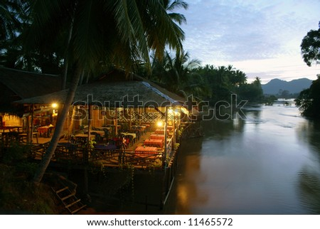 Restaurant on the river Mekong, South Laos - stock photo