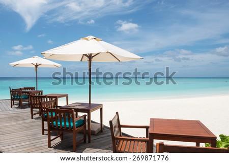Restaurant on the tropical beach, Maldives - stock photo