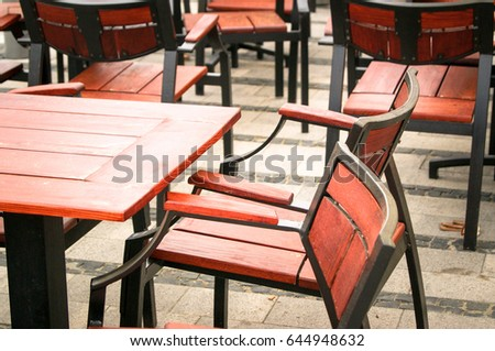 Restaurant Bistro Tables Wooden Chairs Stock Photo Edit Now - Restaurant bistro table and chairs