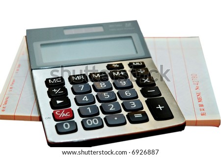 Restaurant orders book and calculator on a white background - stock photo