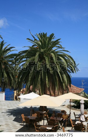 restaurant outdoor terrace on a little canaries village on summer day