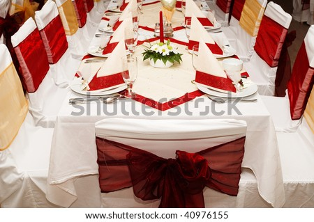 Restaurant party table with served settings - stock photo