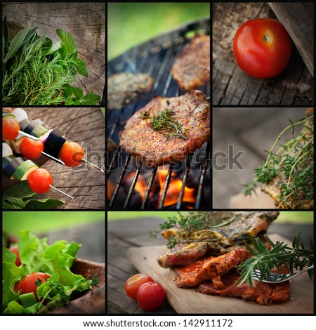Restaurant series. Barbecue BBQ food collage. Fresh marinated meat with herbs and vegetables. - stock photo