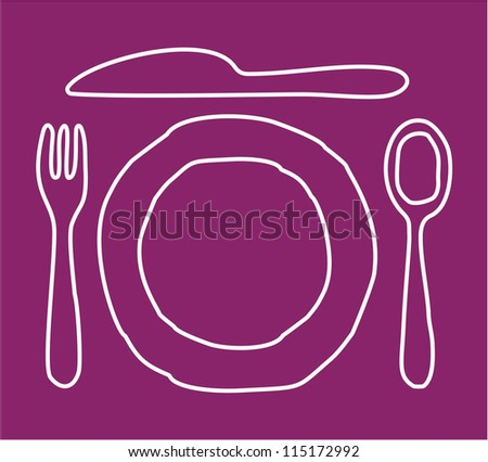 Restaurant sign - knife, spoon, fork and plate