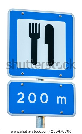 Restaurant sign, road sign - stock photo