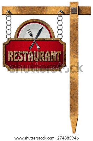 Restaurant Sign with Metal Chain and Pole / Restaurant sign with metal frame, white plate with silver cutlery. Hanging from a metal chain on a wooden pole and isolated on a white - stock photo
