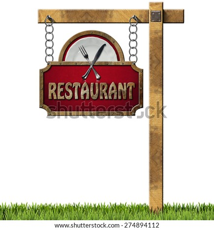 Restaurant Sign with Metal Chain and Pole/ Restaurant sign with white plate and silver cutlery. Hanging from a metal chain on a wooden pole and isolated on a white with green grass - stock photo