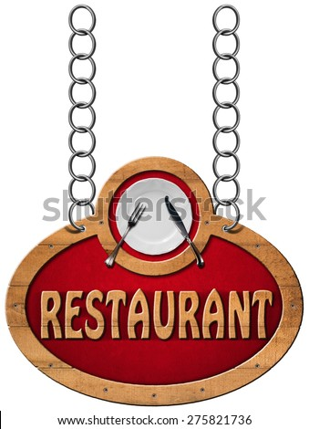 Restaurant Sign with Metal Chain / Wooden sign with frame, white plate with silver cutlery and text restaurant. Hanging from a metal chain and isolated on a white - stock photo